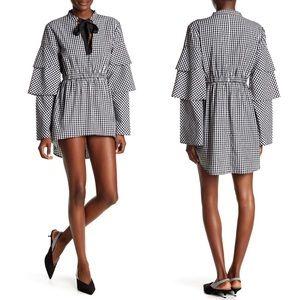 NWT Walter Baker Gingham Black White Dress Size M
